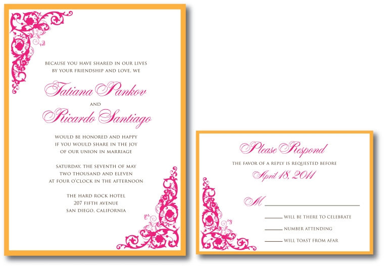 Pink & Orange Wedding Invitation
