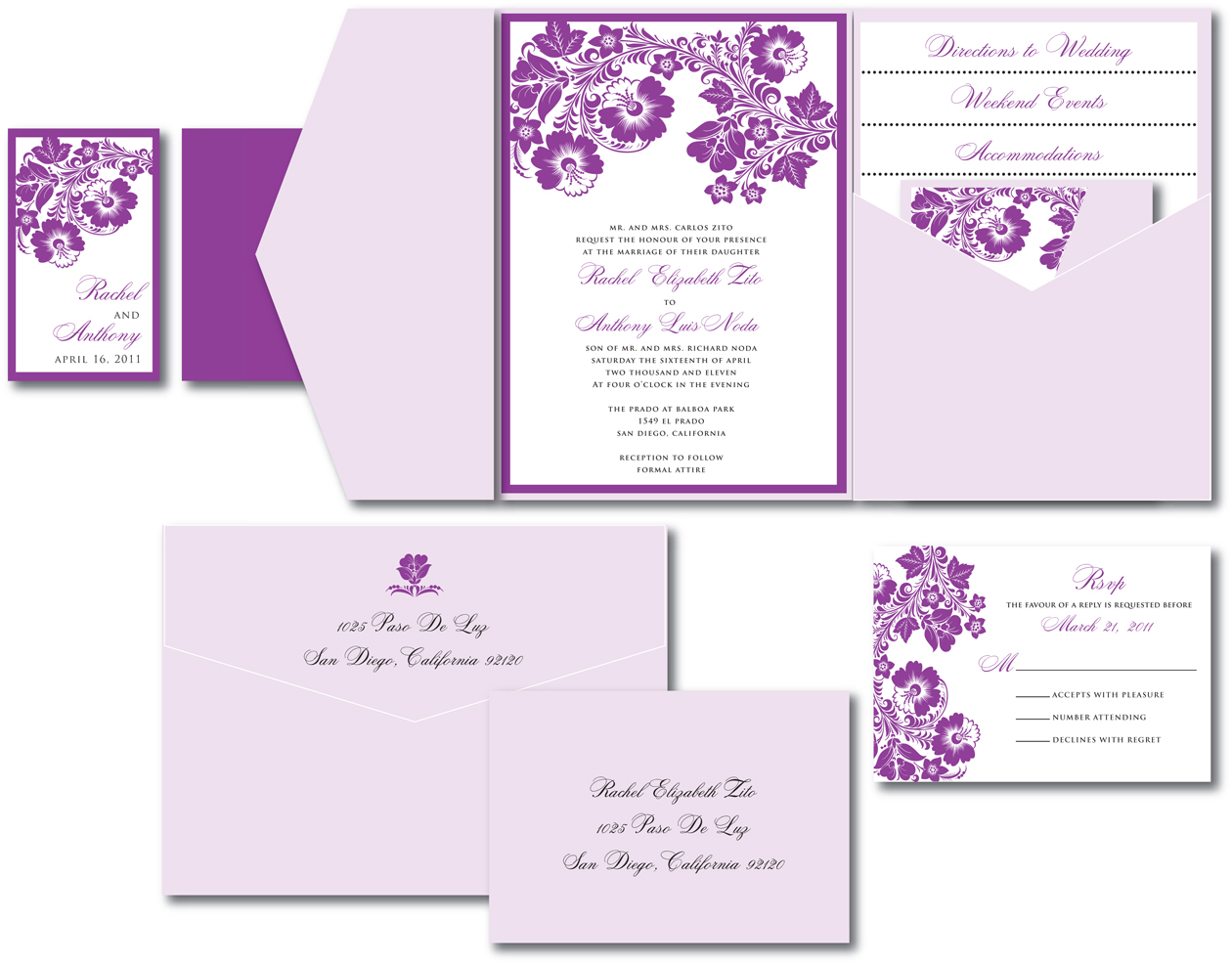 Purple U0026 Lavender Floral Wedding Invite