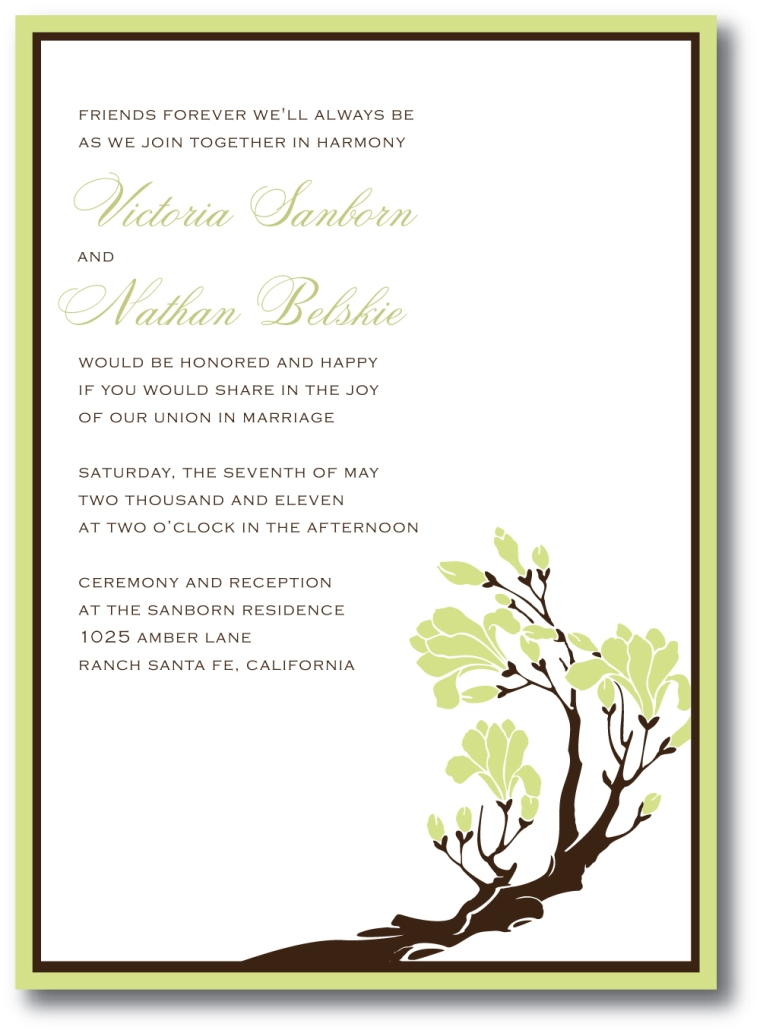 Sage Green & Brown Wedding Invitation