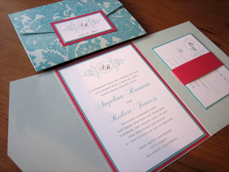 Tiffany Blue and Pink Wedding Invitation – Z Card Style