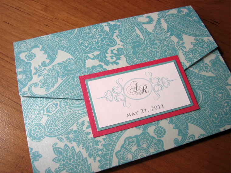 Tiffany Blue & Pink wedding invitation