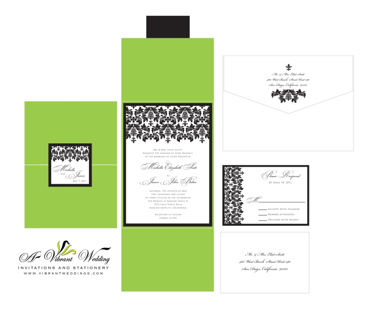 Green & Black Damask Wedding Invitation