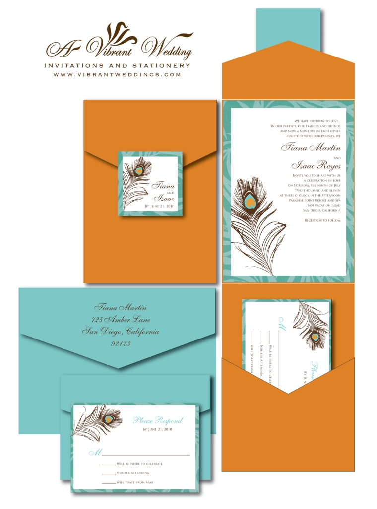 Burnt Orange and Turquoise Wedding Invitation with Peacock Feather Design