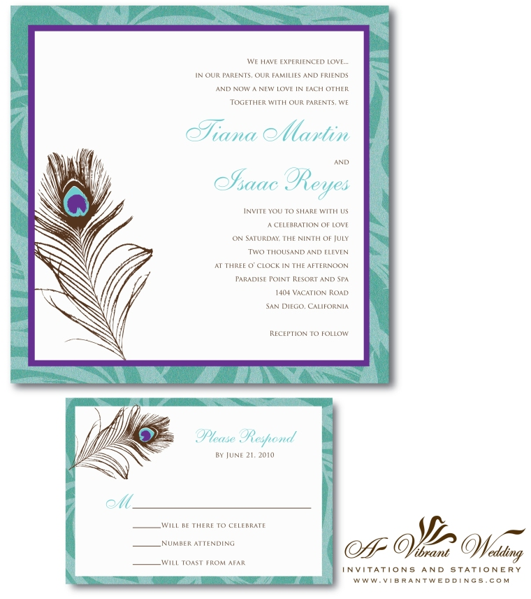 Purple and Tiffany Blue Wedding Invitation with Peacock Feather Design