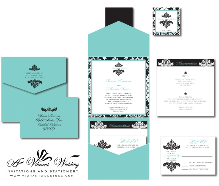 Tiffany Blue Black Damask Wedding Invitation