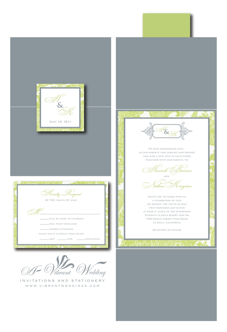 Gray & Green Wedding Invitation - Gate Fold Style