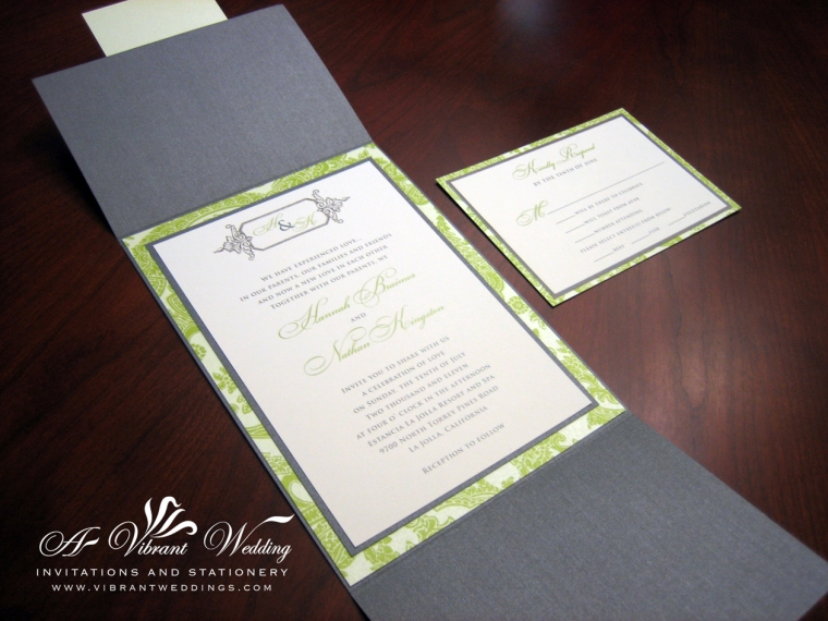 Gray and Green Wedding Invitation Gate Card Style
