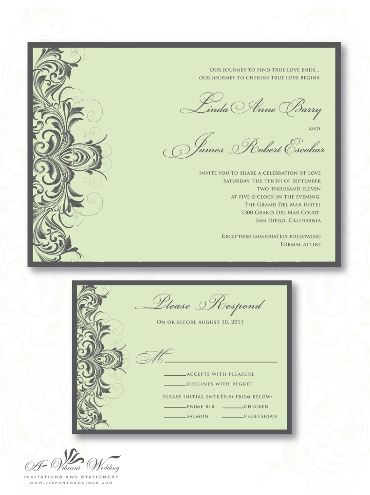Sage Green and Grey Wedding Invitation