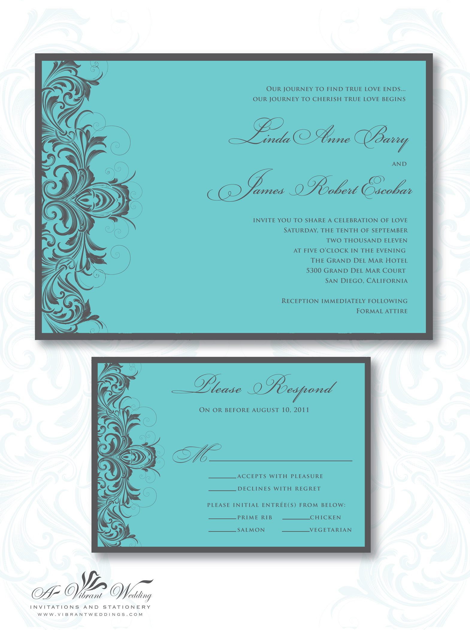 Amazing Turquoise And Grey Wedding Invitation