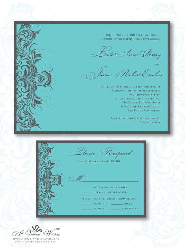 Turquoise and Grey Wedding Invitation