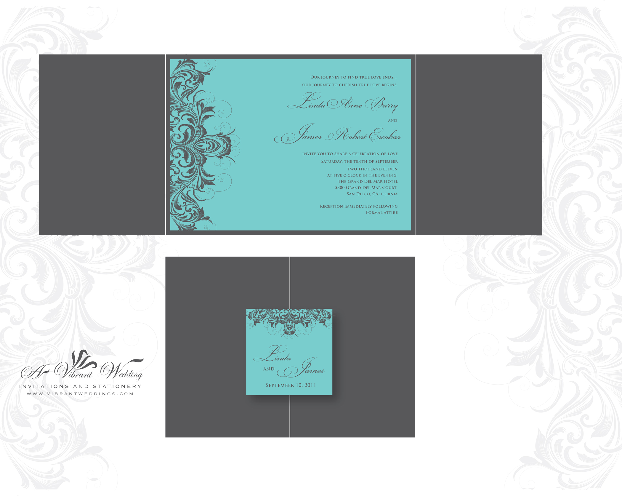 Turquoise and Grey Wedding Invitation Victorian Scroll Design A