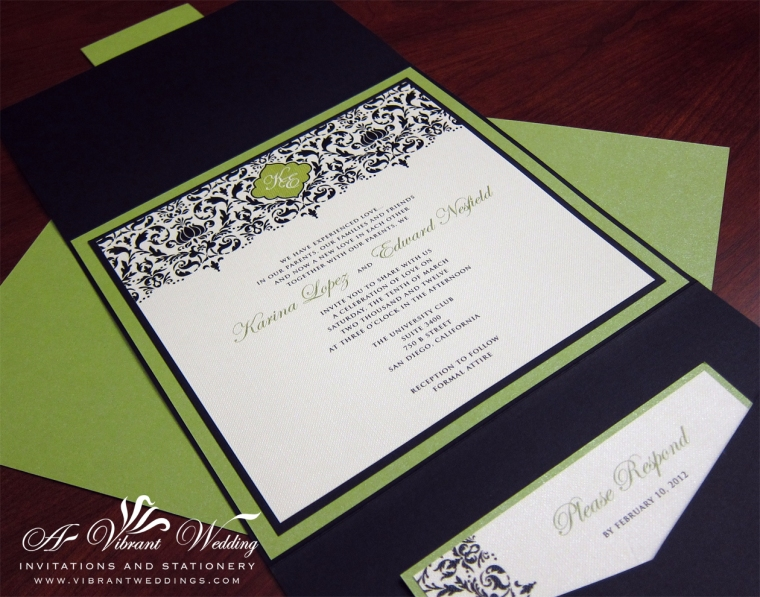 Black and Lime Green Wedding invitation