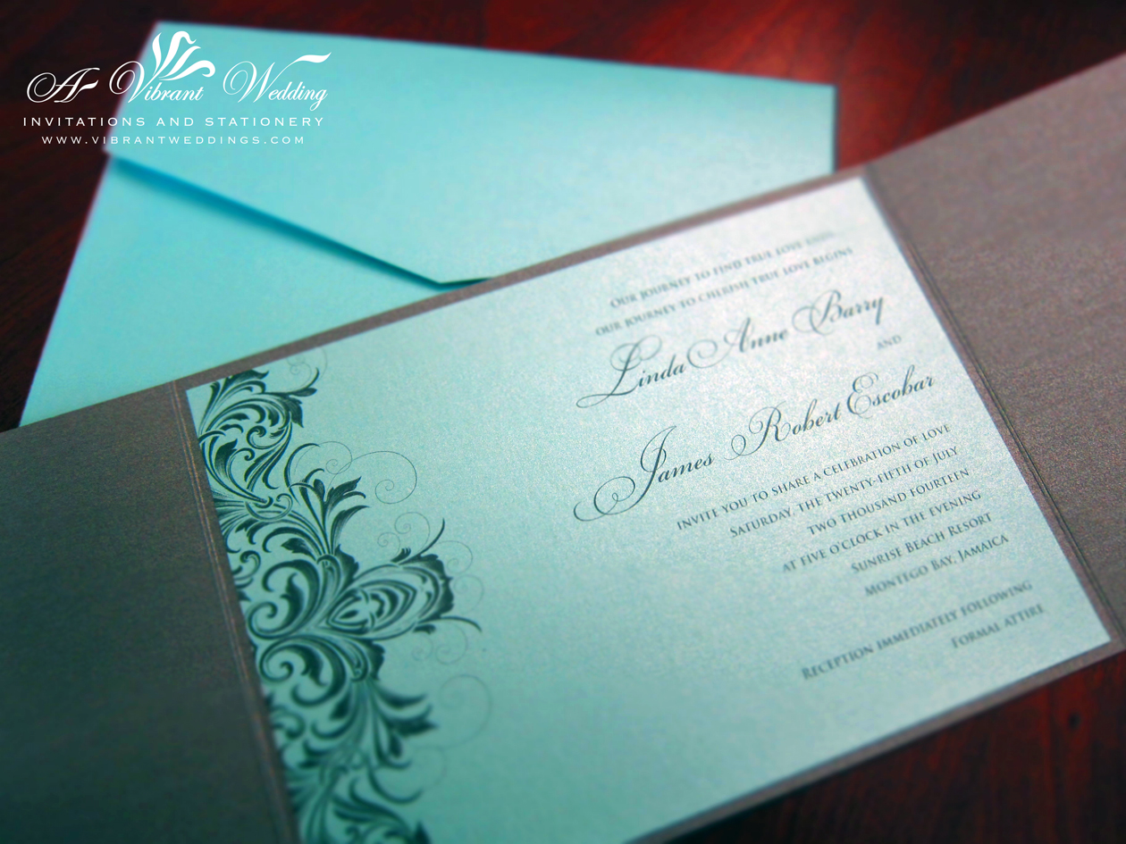 Dark Blue Wedding Invitations: Tiffany Blue Wedding Invitation