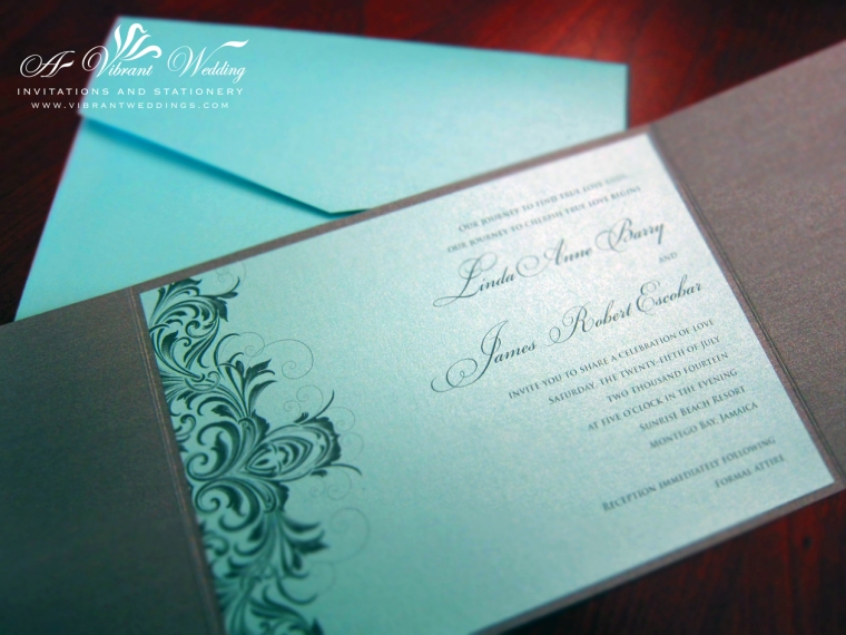 Grey and Tiffany Blue with Victorian Scroll