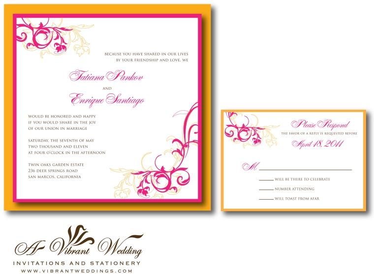 Orange and Pink Wedding Invitation