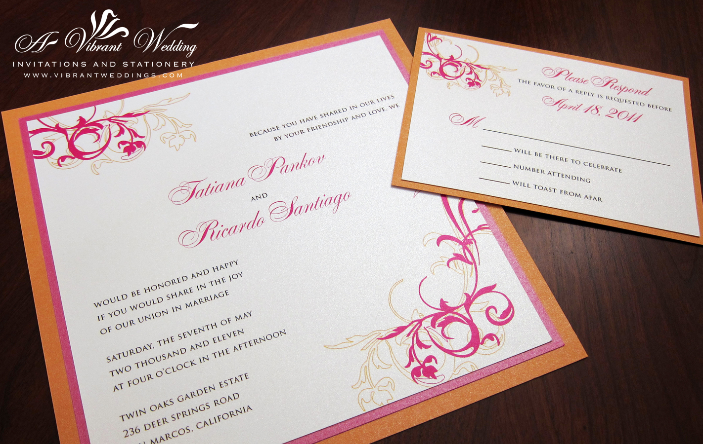 Pink and Orange Wedding Invitation – with Floral Accents – A Vibrant ...