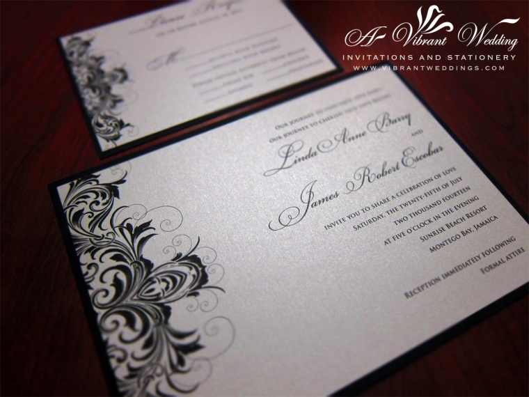 Black and Silver Wedding Invitation - Victorian Scroll