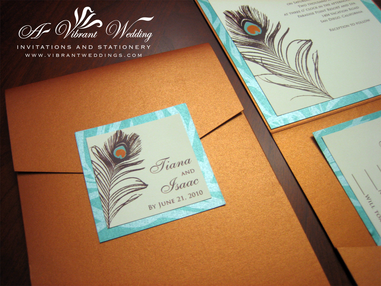 Peacock Feather Wedding Invitation: Burnt Orange & Turquoise Wedding Invitation With Peacock