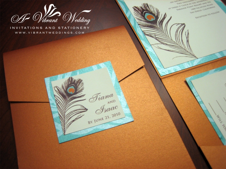 Burnt Orange & Turquoise Wedding Invitation with Peacock Feather Design