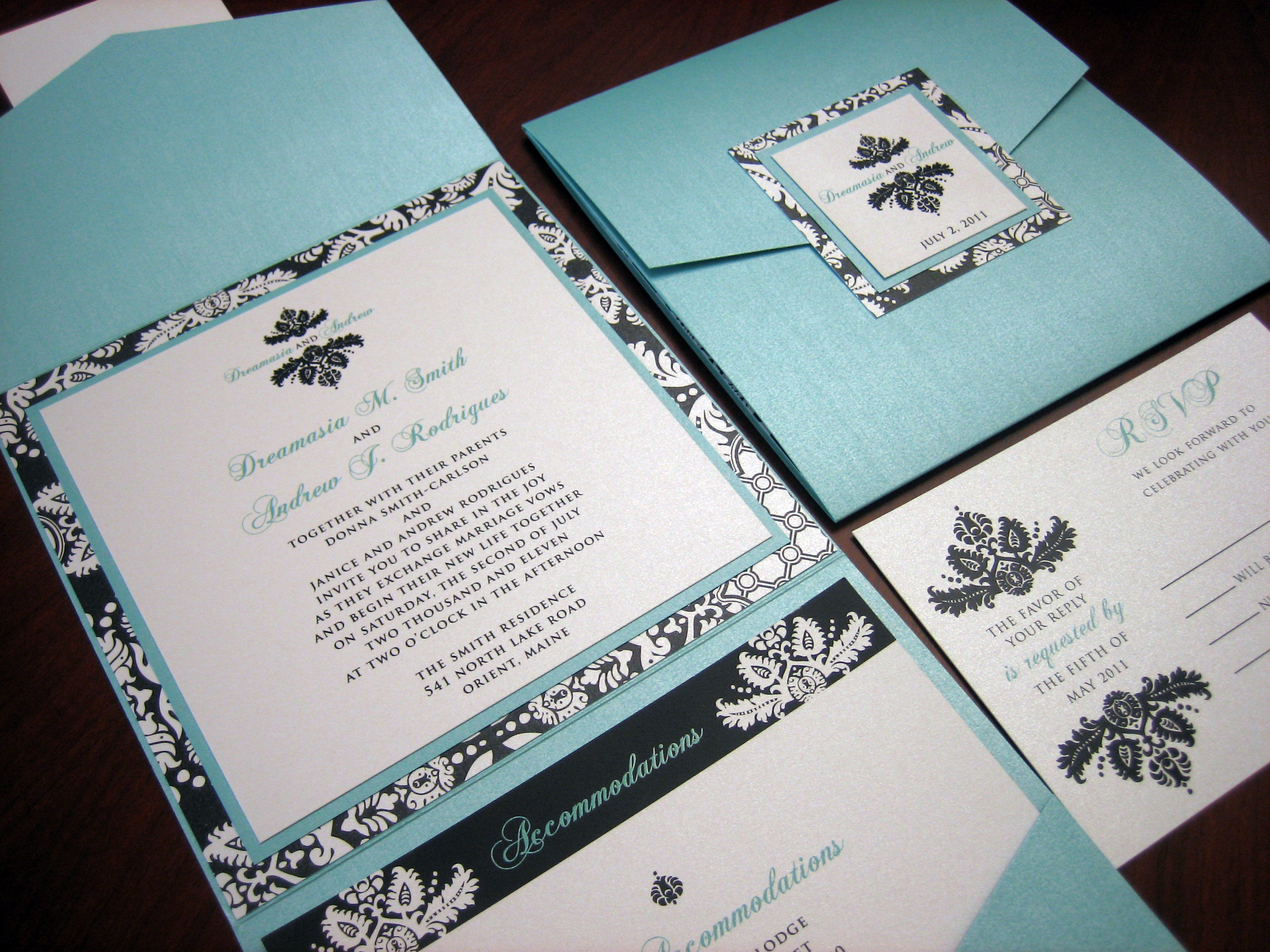 Dark Blue Wedding Invitations: Turquoise Wedding Invitation