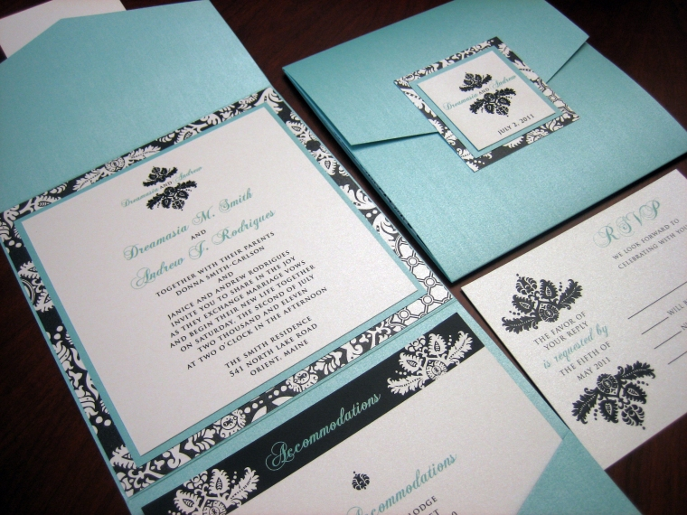 Tiffany Blue & Black Damask Wedding Invitation