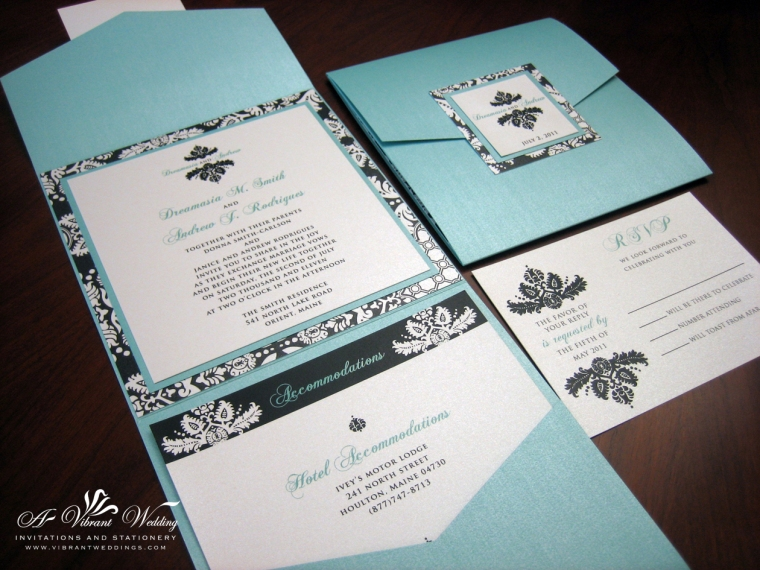 Tiffany Blue & Black Damask Pocket fold wedding invitation