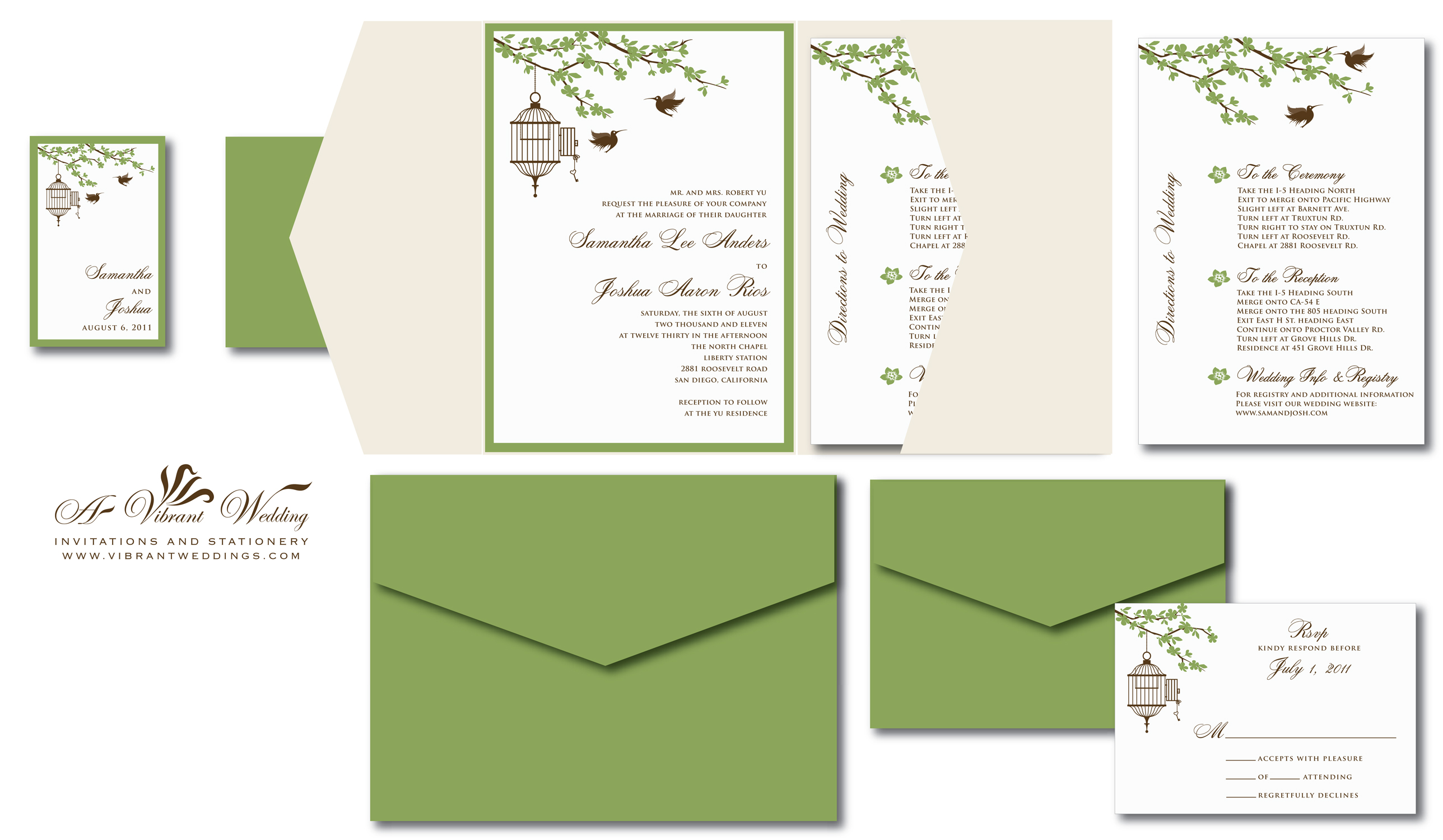 Bird Cage And Humming Birds Wedding Invitation   Sage Green, Champagne And  Ivory