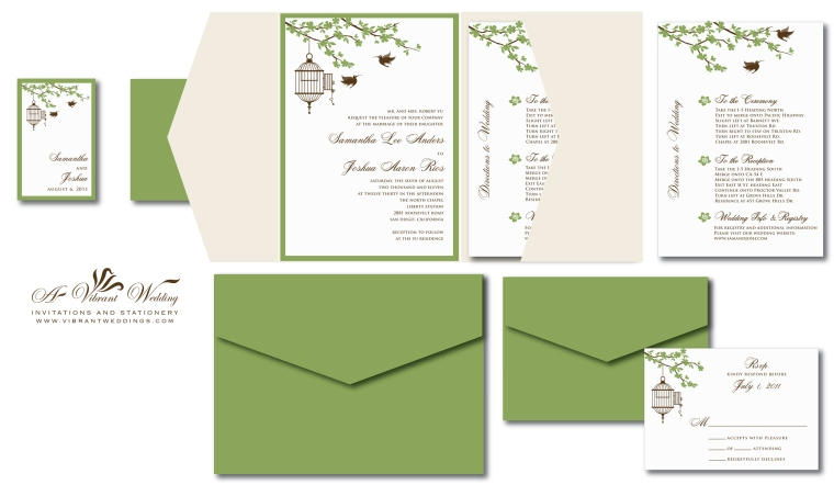 Bird Cage and Humming Birds Wedding Invitation - Sage Green, Champagne and Ivory