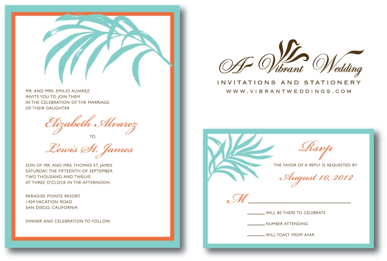 Beach Wedding Invitation -Tiffany Blue & Orange