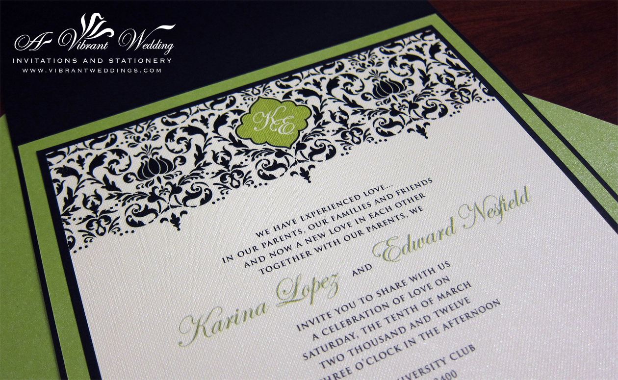 Black and Green Wedding Invitation – with Brocade Design – A Vibrant ...