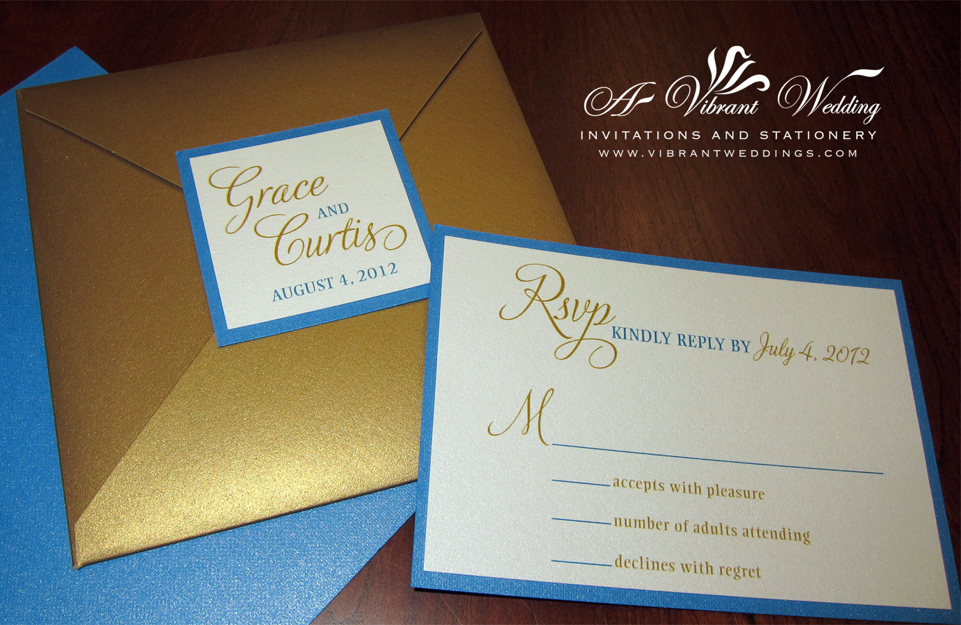Blue And Gold Wedding Invitation   Envelofold Style