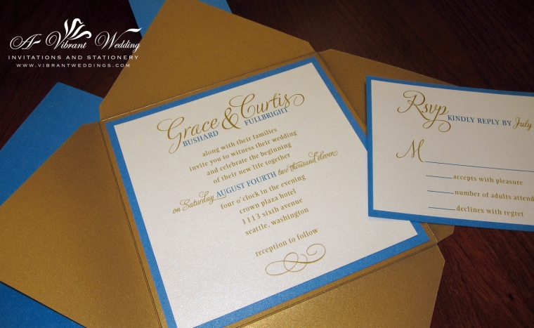 Blue and Gold Wedding Invitation