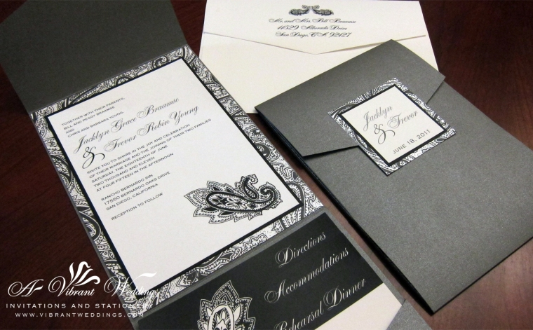 Black and Grey Wedding Invitation with Paisley Design