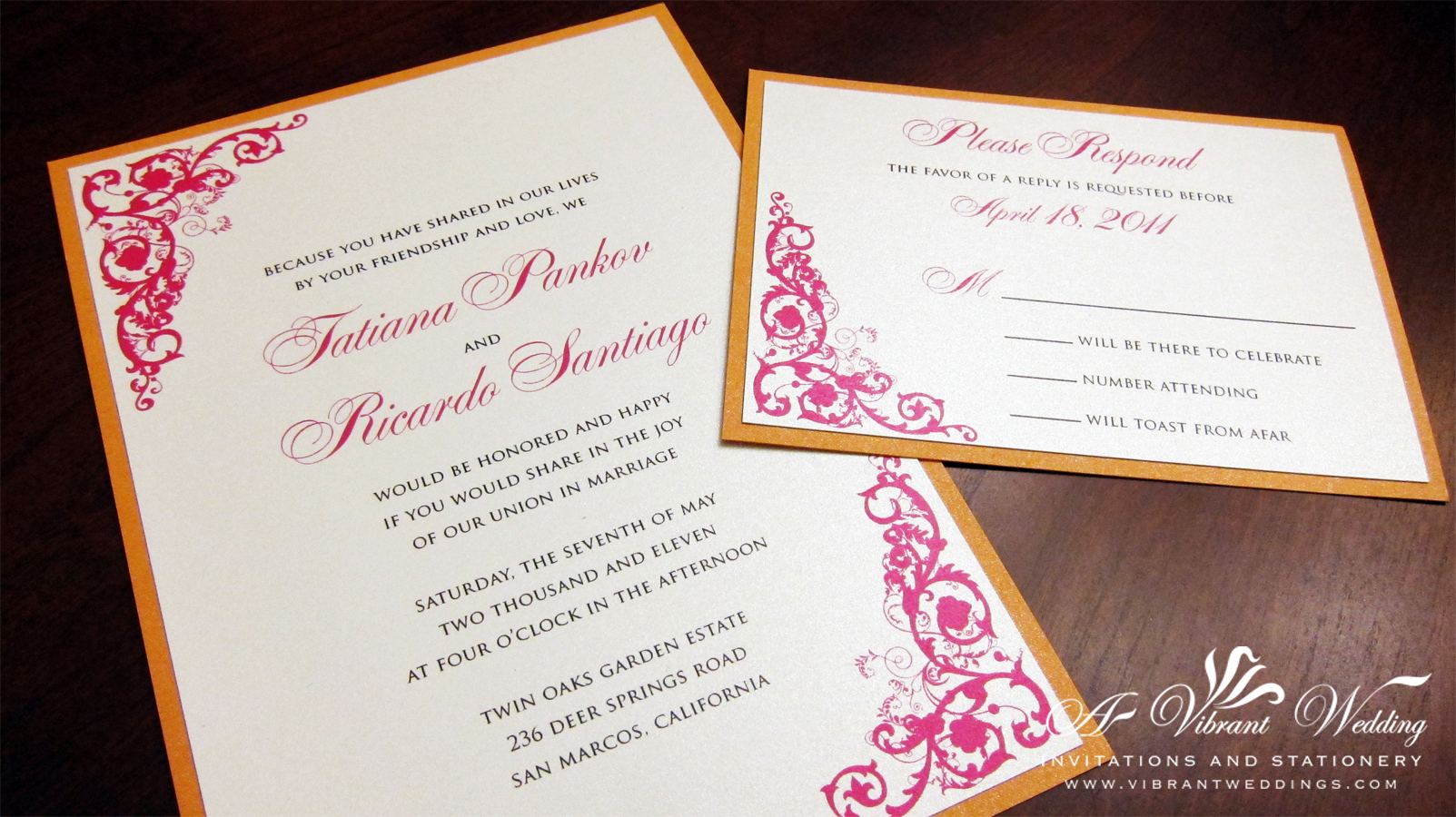 Pink and Orange Wedding Invitation with Corner Vintage Floral Scroll ...