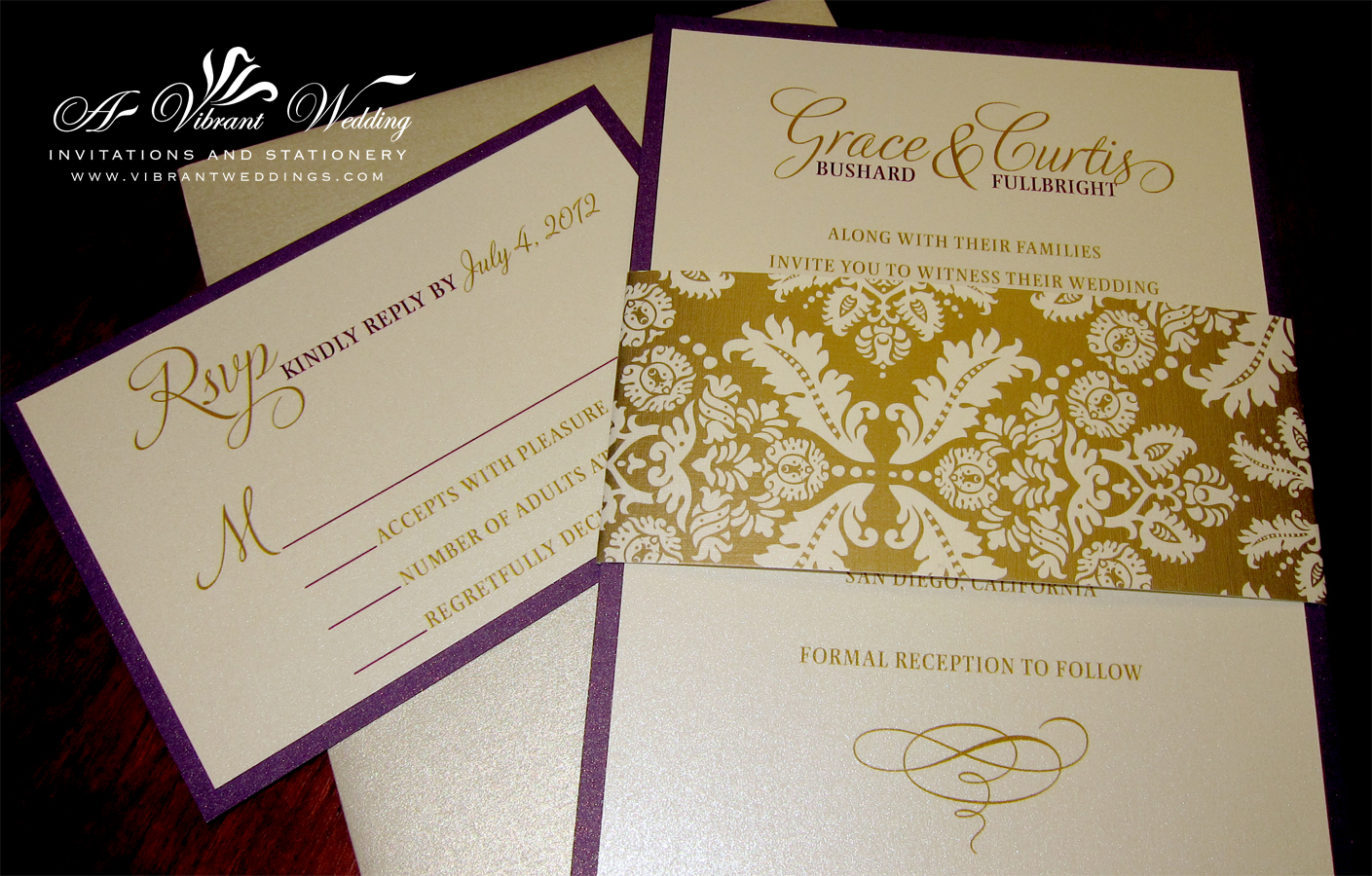 Purple Wedding Invitation A Vibrant Wedding – Gold and Purple Wedding Invitations