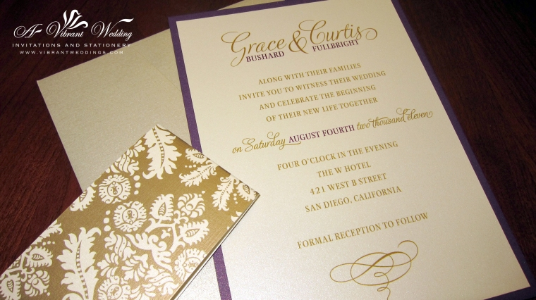 Purple and Gold Wedding Invitation with Brocade Belly Band