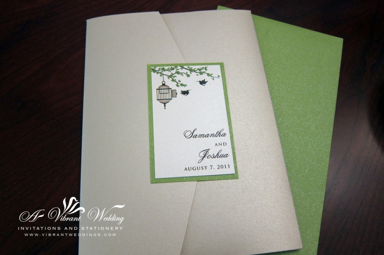 Bird Cage Wedding Invitation with colors: Champagne, Ivory and Green