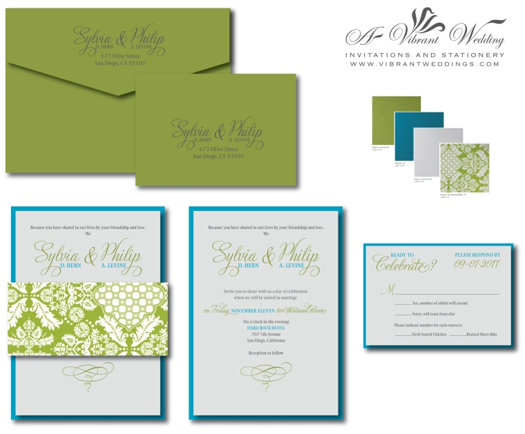Peacock Blue, Green and Silver contemporary Wedding Invitation with Brocade belly band