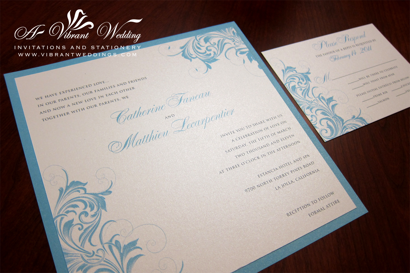 Blue and Off-White Wedding Invitation – Vintage Scroll Design ...