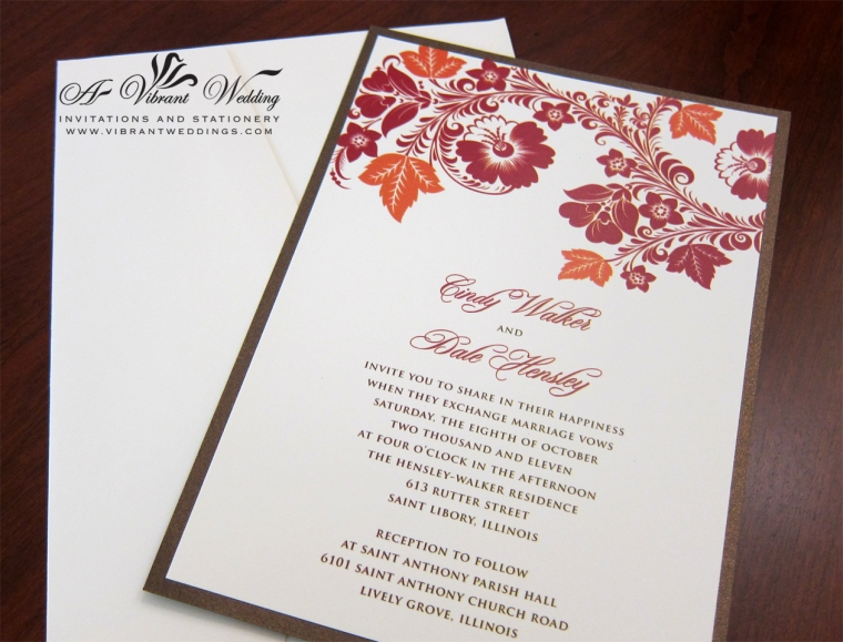 Fall Theme Wedding Invitation - Traditioanl Flat Style