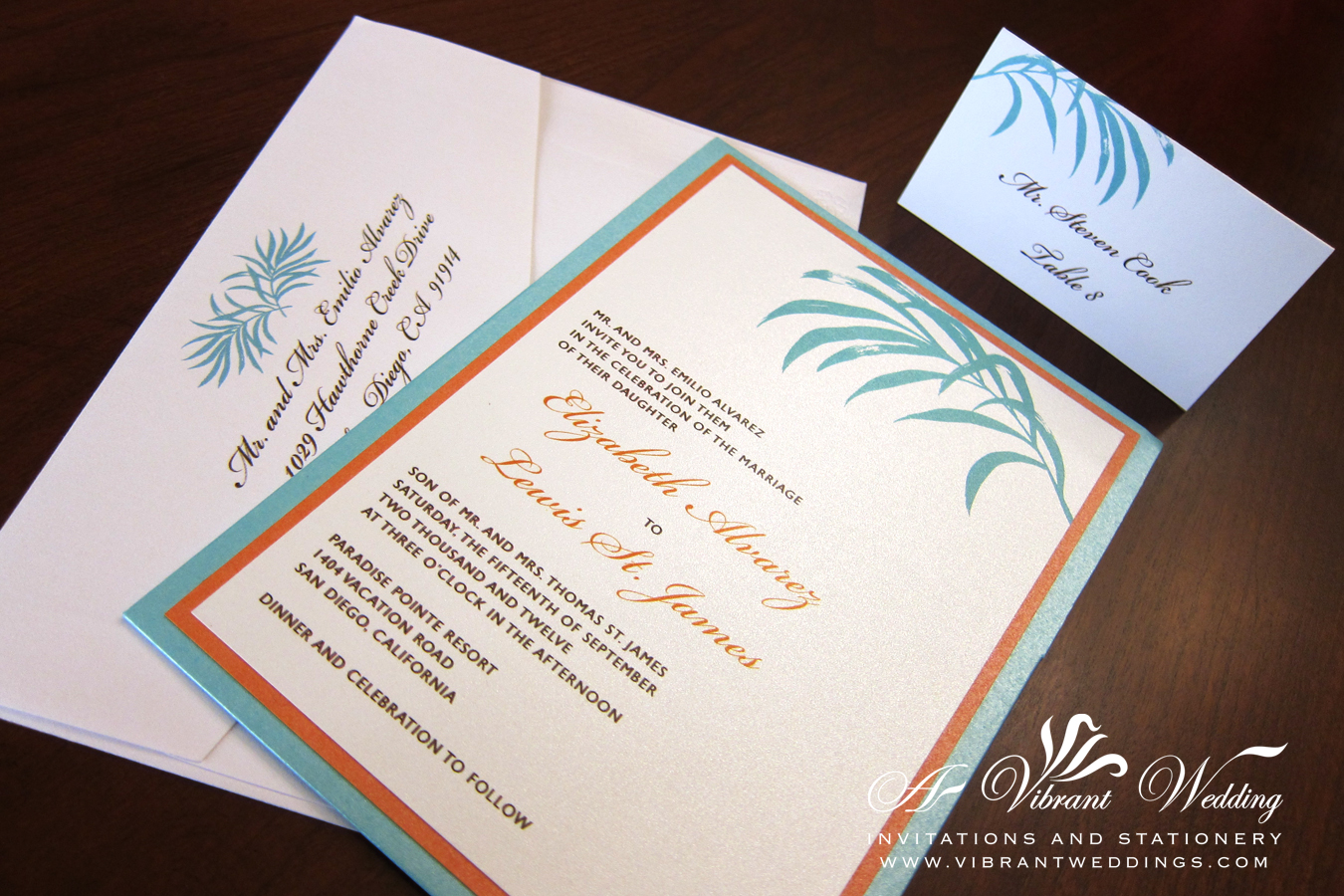Tiffany Blue And Red Wedding Invitations: Tiffany Blue & Orange Wedding Invitation