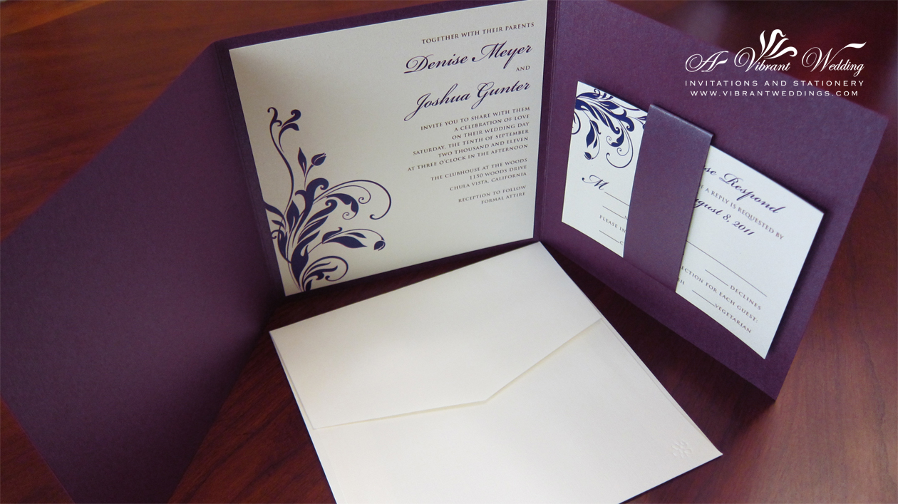 Picture Wedding Invitation – Purple and Ivory Trifold Style – A ...