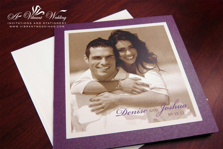 Photograph Wedding Invitation - Purple and Ivory