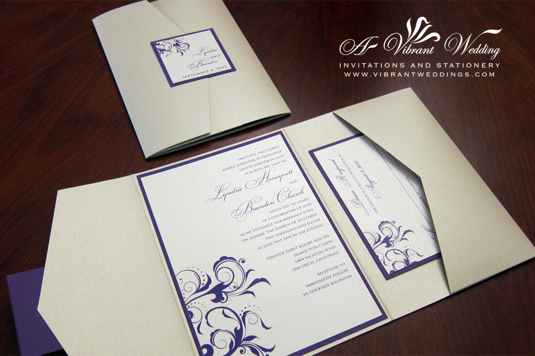 Silver And Purple Wedding Invitations: Ivory And Purple Wedding Invitation