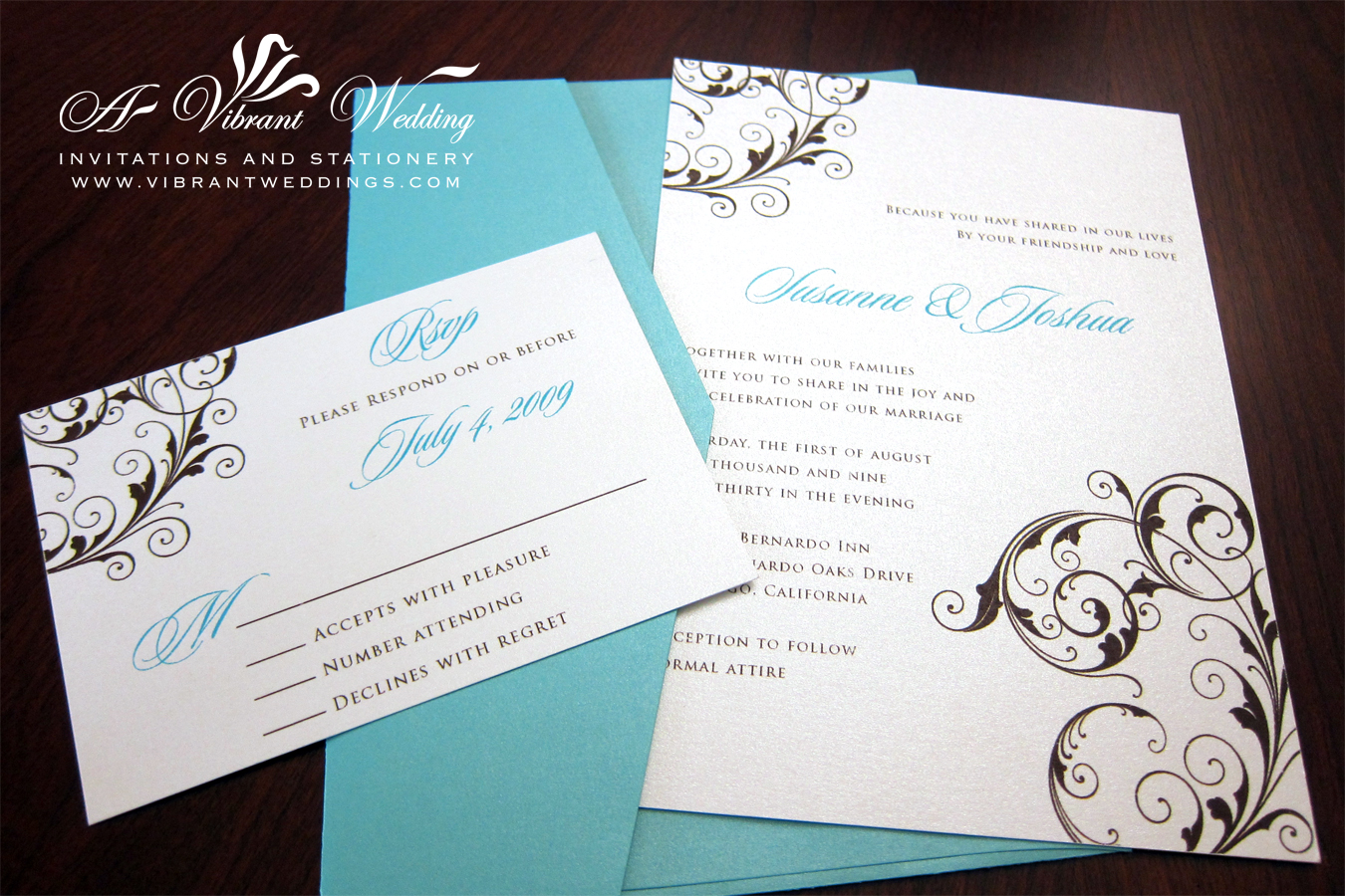 Tiffany Blue And Brown Wedding Invitation