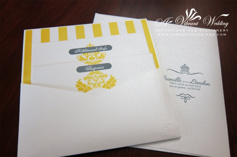 White, Yellow & Blue Modern Wedding Invitation -New Pocket-Card style