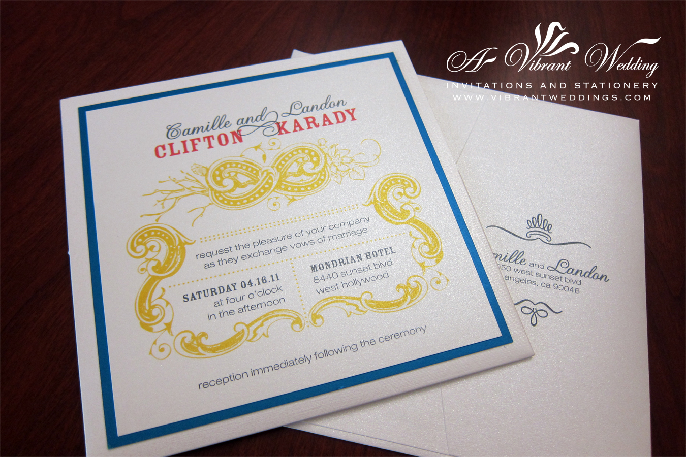 White, Blue, Yellow & Red Modern Wedding Invitation – Pocket-Card ...