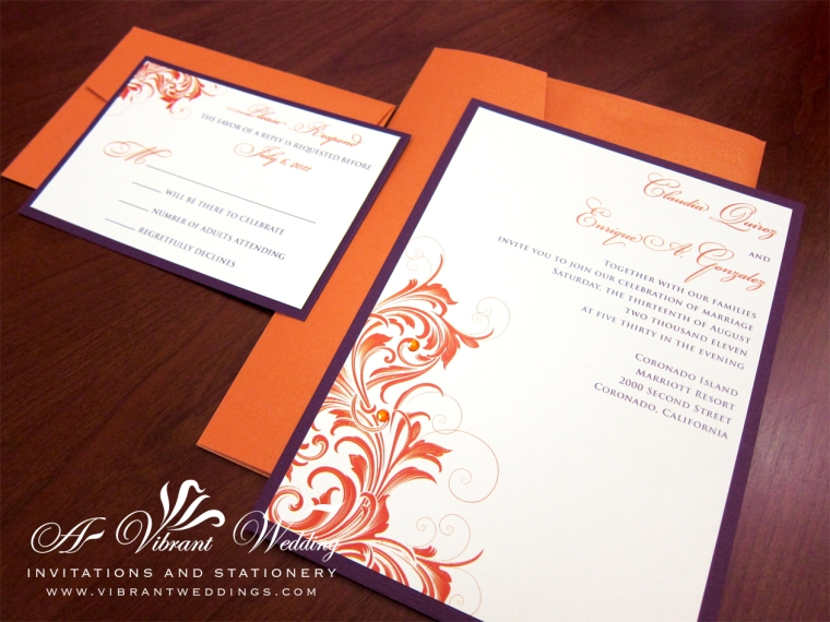 Purple and Orange Wedding Invitation
