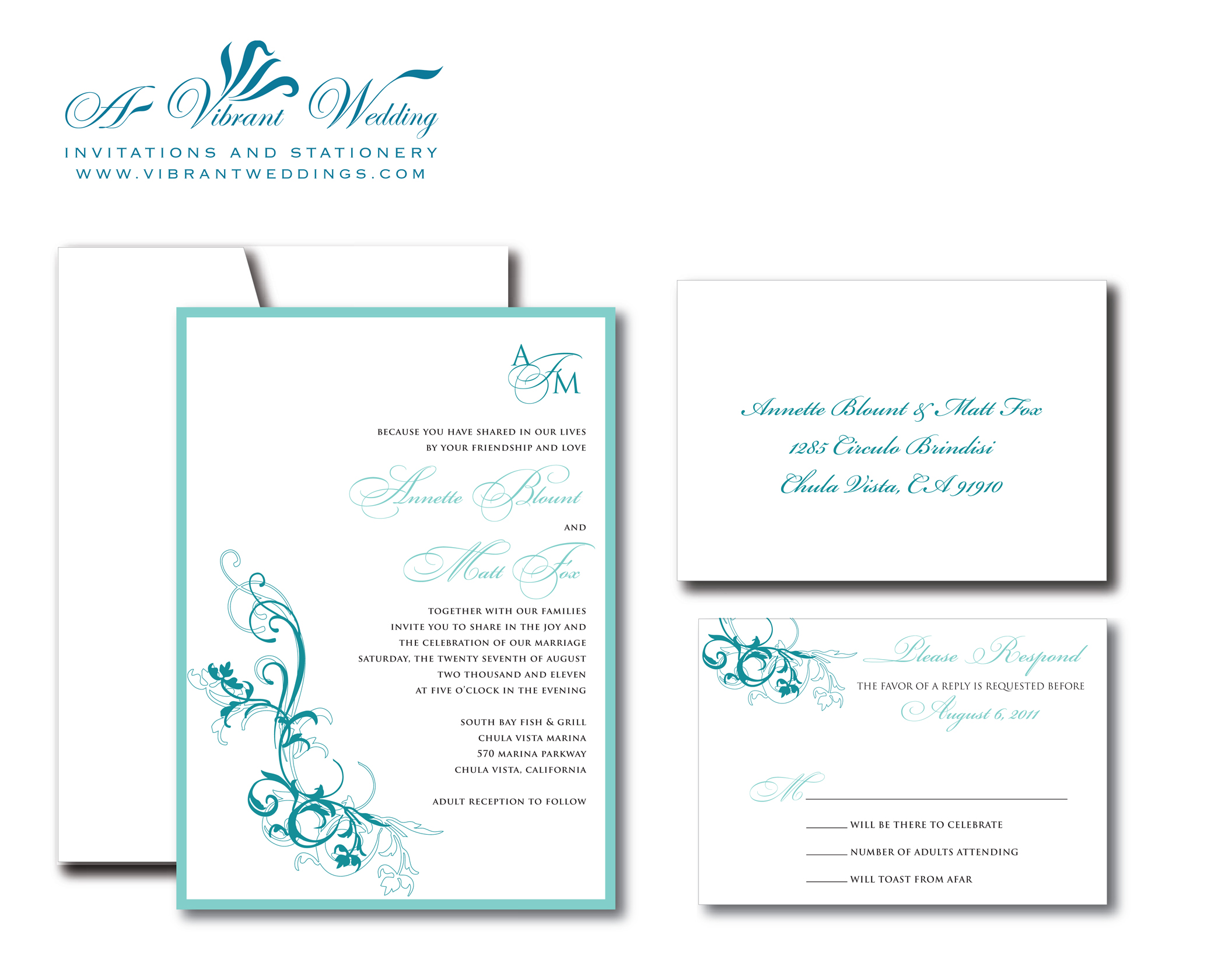 Turquoise wedding invitation – A Vibrant Wedding