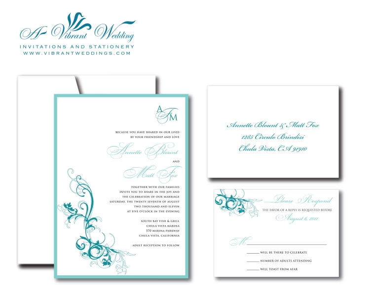 Turquoise and White Wedding Invitation with Monogram & Floral Scroll